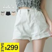 LULUS特價-Y前車線反摺褲管斜紋短褲S-L-3色  現+預【04060921】