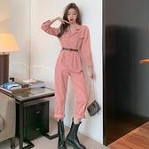 連身褲時尚氣質polo領高腰寬鬆直筒工裝褲女韓版洋氣百搭粉紅色連體長褲 艾莎