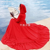 茶卡鹽湖旅拍長裙新款仙女紅色雪紡連衣裙連帽度假沙灘裙大擺長裙 快速出貨