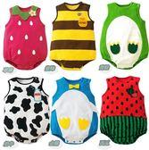 連身衣 包屁衣 兔裝 動物 水果 春夏新款 無袖 無肩扣 NEW 六款 寶貝童衣