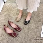 平底單鞋軟皮軟底淺口豆豆女鞋夏【時尚大衣櫥】