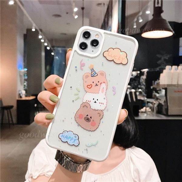 雲朵熊兔 iPhone SE2 XS Max XR i7 i8 plus 手機殼 透明閃粉 相框邊框 保護殼保護套 全包邊軟殼 防摔殼