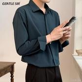 襯衫男士垂感墜感外套帥氣襯衫男長袖韓版寬鬆潮流痞帥高級設計感襯 快速出貨