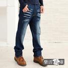 【7213】釦飾立體刷色伸縮大直筒牛仔褲...