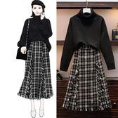大碼女裝套裝裙針織毛衣格子半身裙胖MM兩件套【時尚大衣櫥】