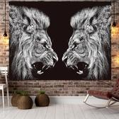 北歐獅子背景布ins掛布裝飾布藝掛畫少女網紅床頭掛毯宿舍牆布