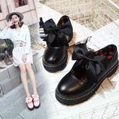 洛麗塔Lolita皮鞋洋裝綁帶蝴蝶結鞋子中跟厚底【聚寶屋】