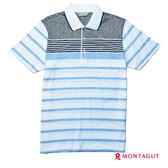 POLO衫男款短袖 夢特嬌 藍色微幾何條紋吸濕排汗
