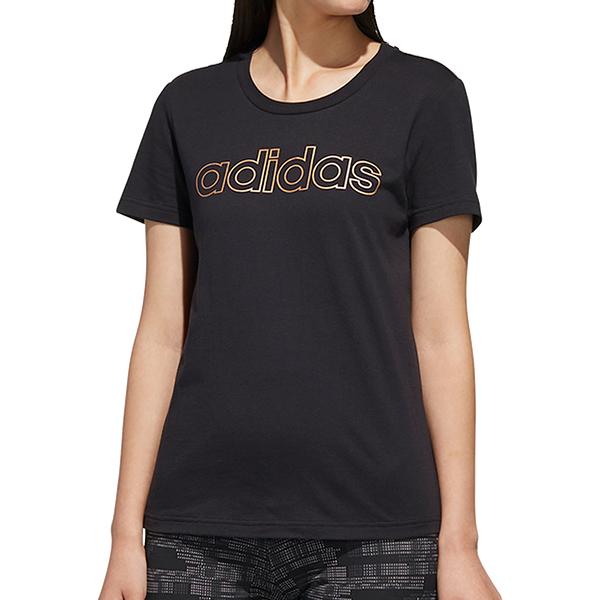【現貨】ADIDAS ESSENTIALS BRANDED 女裝 短袖 慢跑 休閒 純棉 燙金 黑【運動世界】FL0164