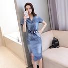 牛仔連衣裙中長款短袖2020新款夏季韓版修身收腰顯瘦V領牛仔裙女 依凡卡時尚