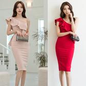 洋裝氣質女王范斜肩飄帶時尚修身禮服裙包臀裙6307H506B快時尚