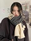 千鳥格子圍巾女冬季韓版百搭學生秋冬加厚保暖針織毛線圍脖披肩男 黛尼時尚精品