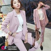 OL休閒套裝 時尚雙排釦西裝外套+九分西裝褲兩件式套裝 艾爾莎【TGK5644】