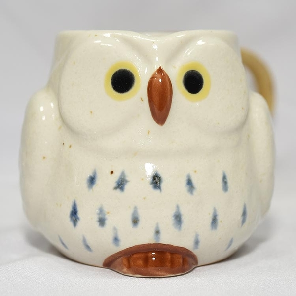 貓頭鷹 陶瓷馬克杯 日本製造 白色