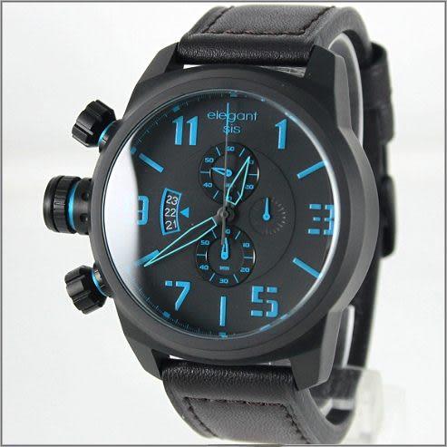 【萬年鐘錶】elegant大錶徑 三眼多功能(霧黑-藍) ELJT48-OU02LC