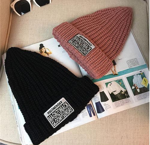 韓國 秋冬 尖尖帽 毛帽 復古 混色 毛線帽 刺繡 字母 拼貼 翻沿  帽子