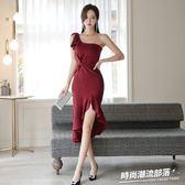 洋裝 春夏新款名媛氣質酒會宴會婚禮禮服裙不規則魚尾連身裙1780