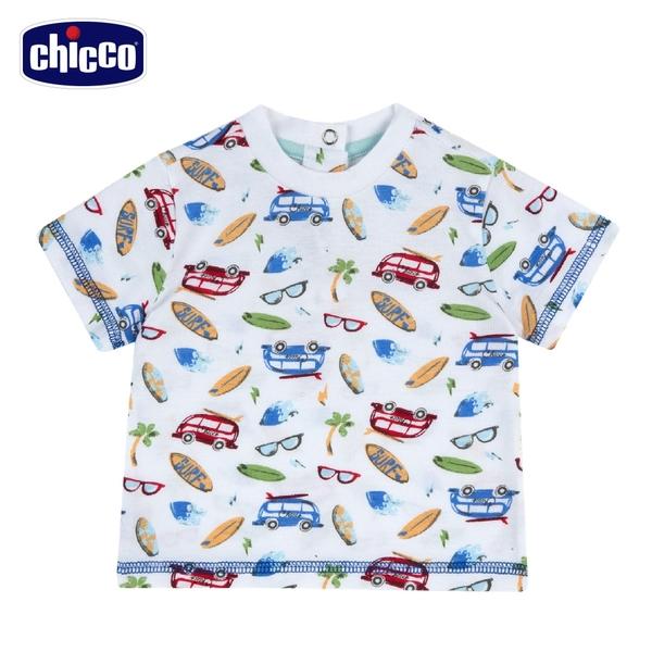 chicco-衝浪小熊-滿底印花短袖上衣