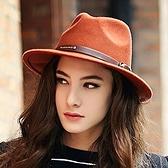 爵士帽-英倫大帽簷皮帶扣毛呢女帽子2色72b24[巴黎精品]
