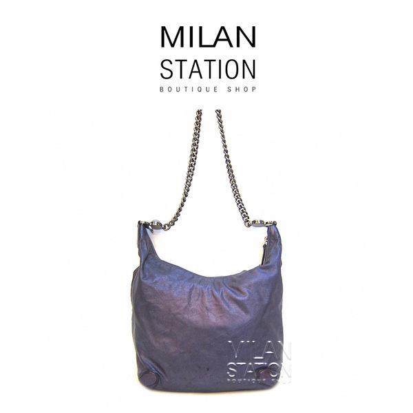 【台中米蘭站】GUCCI 經典鏈帶彎月斜背包 (珠光紫)