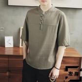 亞麻t恤男短袖寬松中國風中式盤扣棉麻大碼半袖體恤【左岸男裝】