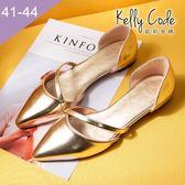 大尺碼女鞋-凱莉密碼-時尚金屬色細帶尖頭平底中空鞋1.5cm(41-44)【QI609-3】金色