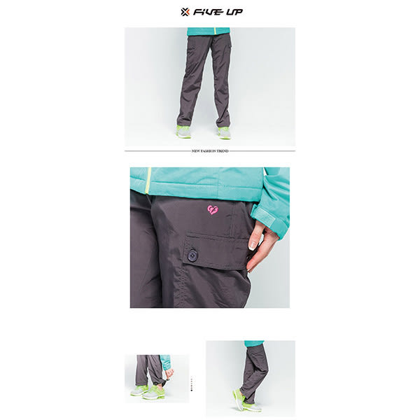 FIVE UP 簡約中厚風衣長褲-黑