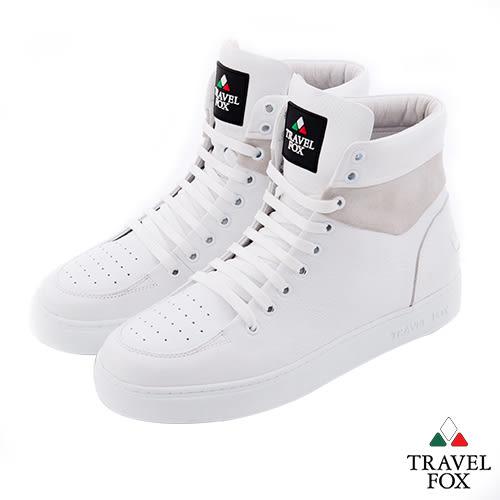 Travel Fox(女) CLASS 900 雙料側環牛皮高筒休閒鞋 - 全白