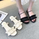 可兩穿.MIT日系甜美純色荷葉邊雙系帶平底涼鞋.白鳥麗子