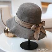 韓版夏季遮陽帽絲帶裝飾漁夫帽可折疊遮陽沙灘帽子休閒百搭草帽·Ifashion