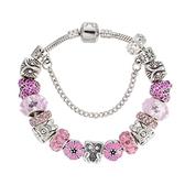 串珠手鍊-水晶飾品甜美粉色精緻鑲鑽女配件73kc271[時尚巴黎]