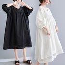 洋裝 中大尺碼 適合胖人的裙子洋氣夏季大碼胖mm中長款棉麻寬鬆顯瘦文藝連身裙女
