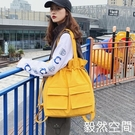 束口包書包女韓版高中生帆布束口袋抽繩大容量側背後背兩用大學生背包潮 快速
