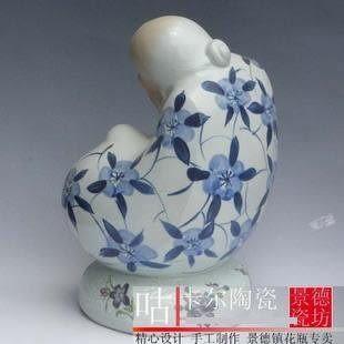 景德鎮陶瓷器手繪青花雕塑壽星人物擺設