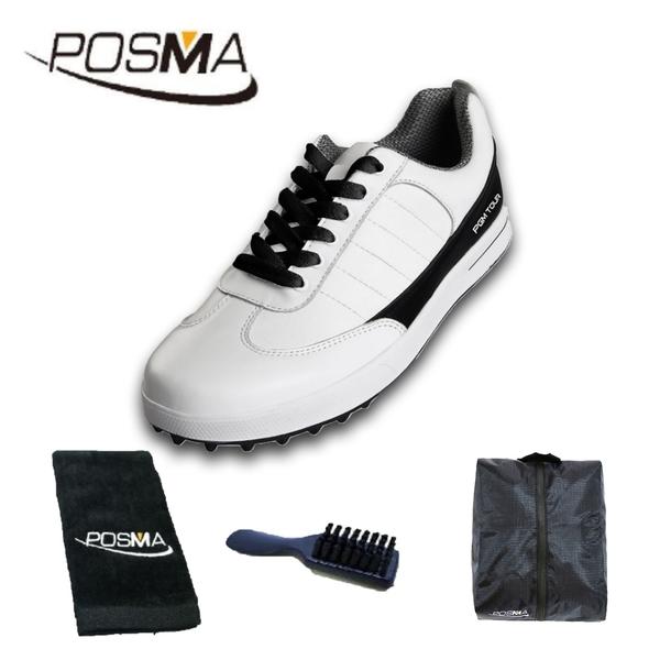 高爾夫球鞋 男士牛皮無釘鞋 防水透氣休閒鞋 運動鞋 GSH037WBLK