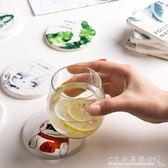 ins杯墊 天然硅藻泥創意杯墊 日式卡通隔熱墊馬克杯墊防滑可訂製中秋節搶購
