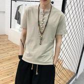 夏季中國風男裝亞麻短袖T恤復古盤扣上衣服寬鬆亞麻唐裝半袖體恤