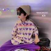 兒童短袖襯衫薄款韓版洋氣翻領愛心寬松休閑上衣潮流襯衣【齊心88】