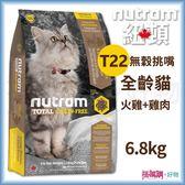 Nutram 紐頓 『 T22 無穀挑嘴全齡貓(火雞+雞肉)』 6.8KG 【搭嘴購】