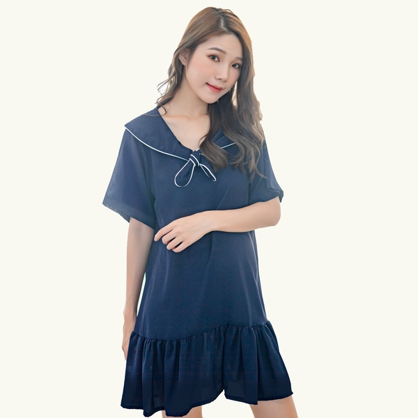 氣質洋裝--日系水手學院風領口綁帶拼接波浪裙擺短袖雪紡長上衣(藍M-3L)-U552眼圈熊中大尺碼