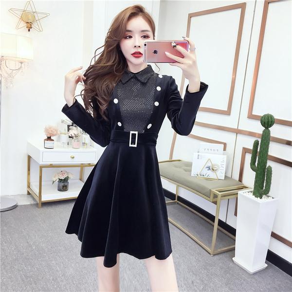 VK精品服飾 韓系淑女氣質金絲絨拼亮片紐扣收腰顯瘦長袖洋裝