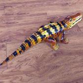 兒童仿真野生動物玩具爬行電動鱷魚模型可行走路搖尾燈光音樂男孩  igo 范思蓮恩