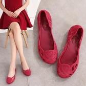 2020新款包頭涼鞋女平底鏤空塑膠鞋時尚果凍鞋淺口簡約旅游沙灘鞋 後街五號