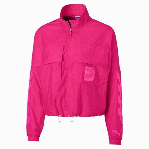 PUMA Evide 女裝 外套 風衣 梭織 立領 前袋 蔡依林 複古 LOGO 粉 歐規【運動世界】59777020