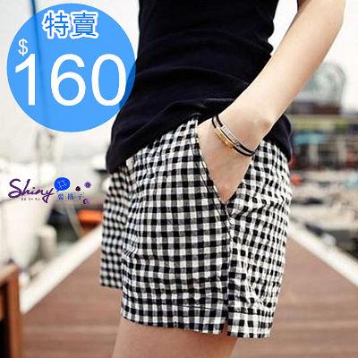 【V0019】shiny藍格子-簡約時尚.休閒黑白格抽繩鬆緊腰短褲