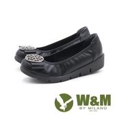 【南紡購物中心】W&M 古典美 行雲圓扣厚底娃娃鞋 女鞋-黑(另有藍)