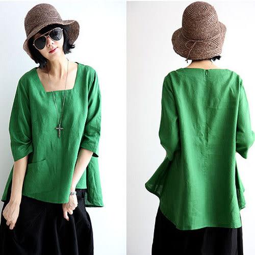 綠色棉麻女襯衫民族風復古文藝范中長袖寬鬆t恤亞麻上衣【蘇迪蔓】