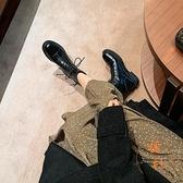 圓頭低跟短靴女后拉鏈短筒秋冬顯瘦馬丁靴【橘社小鎮】