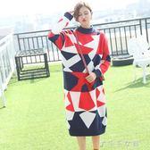 秋冬女裝韓版毛衣裙寬鬆大碼超長款針織洋裝女1299 千千女鞋