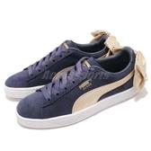 Puma 休閒鞋 Suede Bow Varsity Wns 藍 金 女鞋 緞帶 蝴蝶結 運動鞋 【ACS】 36773202